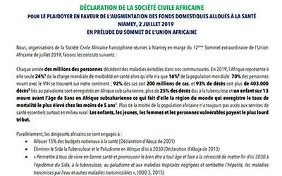 Déclaration De La Société Civile Africaine