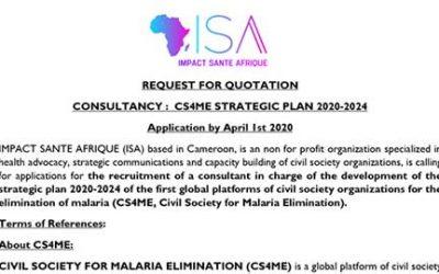 Impact Santé Afrique lance un appel à candidatures pour le recrutement d'un consultant chargé de l'élaboration du plan stratégique CS4ME 2020-2024