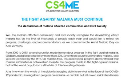 WORLD MALARIA DAY 2020 DECLARATION
