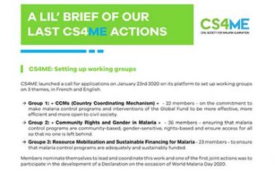 NEWSLETTER : Discover our CS4ME actions from January to March 2020