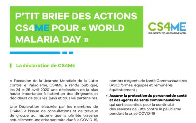 NEWSLETTER : Découvrez nos actions CS4ME de la Journée Mondiale de Lutte contre le Paludisme