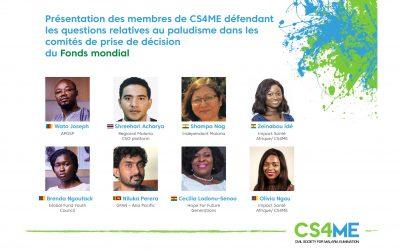 Augmentation des voix du paludisme dans les zones endémiques : Les membres de CS4ME sélectionnés dans les espaces décisionnels clés au niveau mondial !